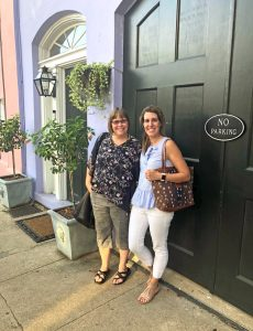 bloggers mom home guide and curly crafty mom at rainbow row in charleston during haven 2018