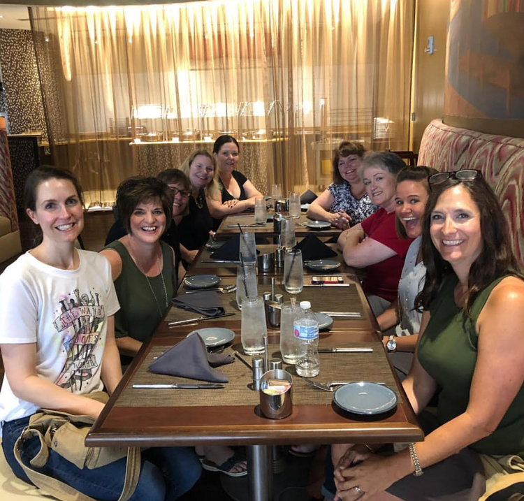 Bloggers having lunch at the Haven 2018 blog conference