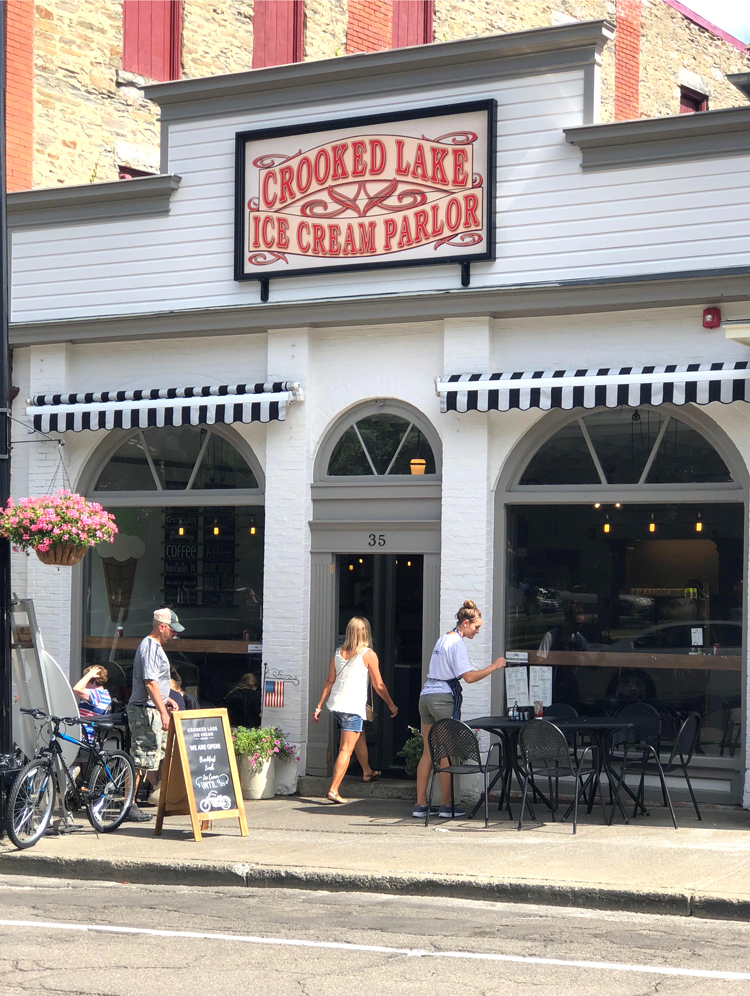 crooked lake ice cream parlor in Hammondsport, New York on Keuka Lake