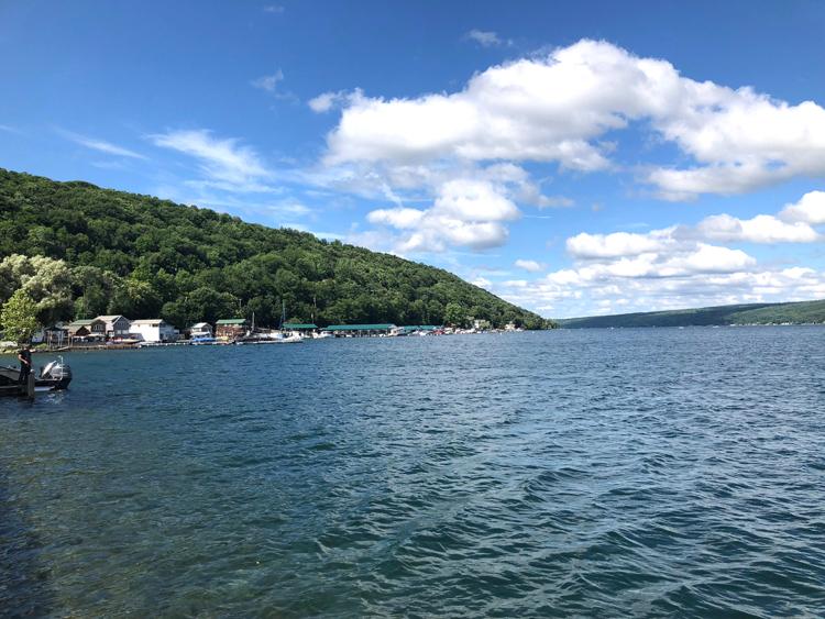 view of Keuka Lake from Hammondsport, New York