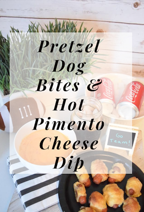 recipe for mini pretzel hot dog bites and a warm pimento cheese dip