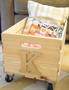 easy DIY rustic rolling magazine crate