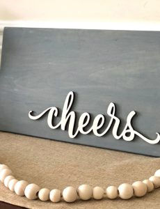 console table with DIY rustic farmhouse style sign