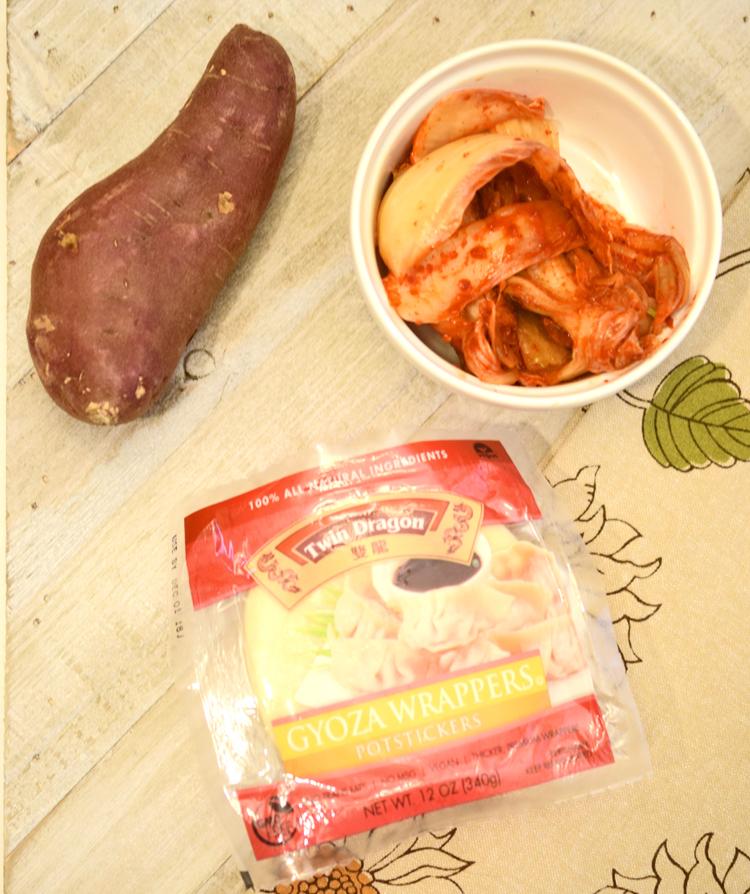 ingredients for savory sweet potato gyoza