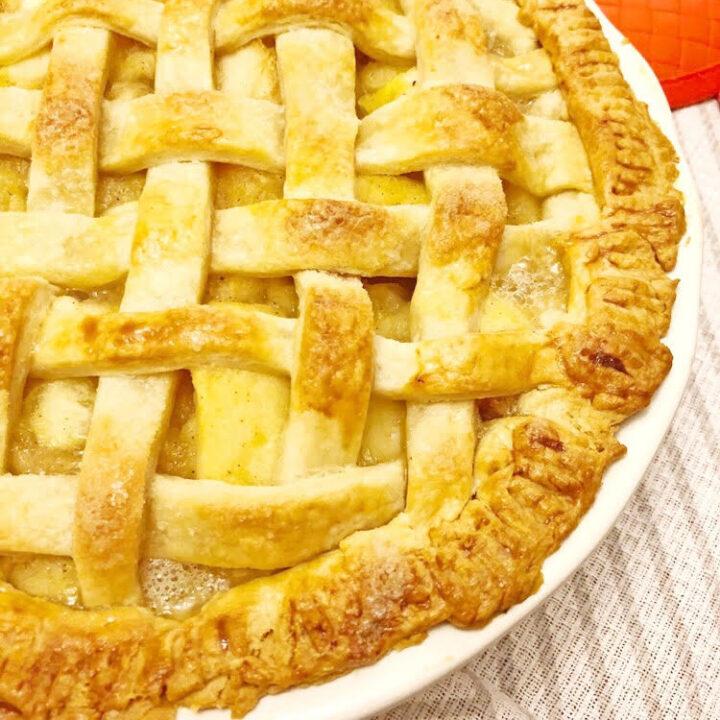 homemade lattice apple pie with homemade crust