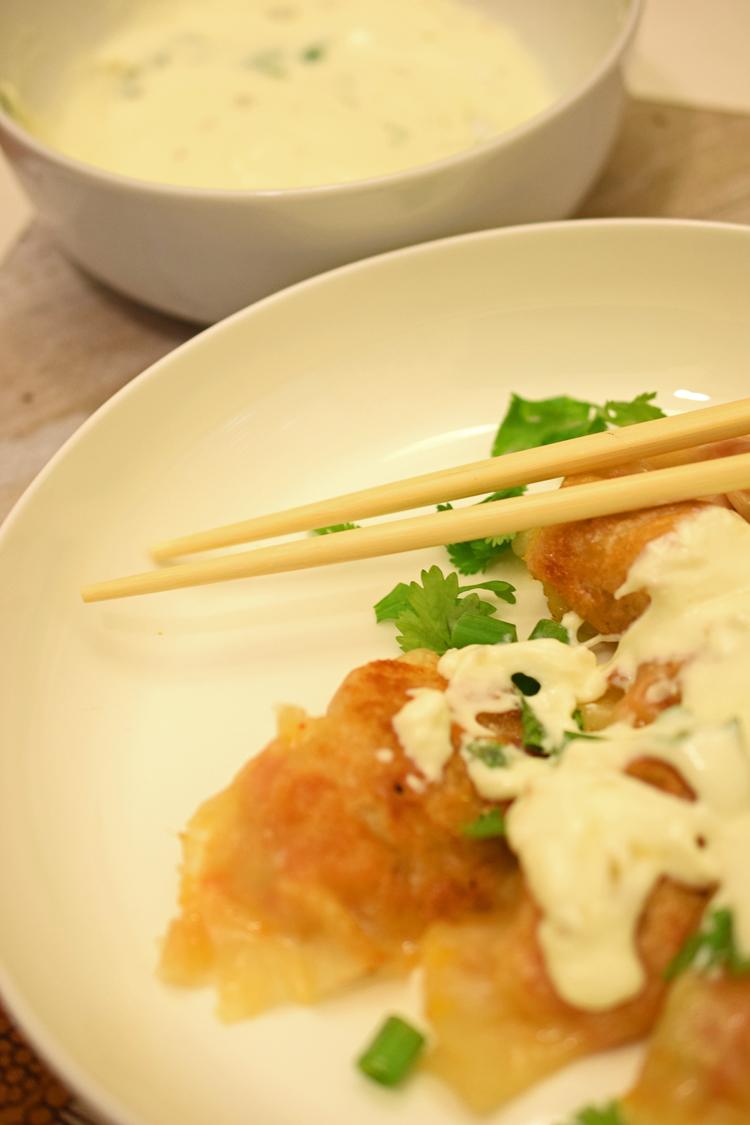 sweet potato and kimchi gyoza pot stickers and queso