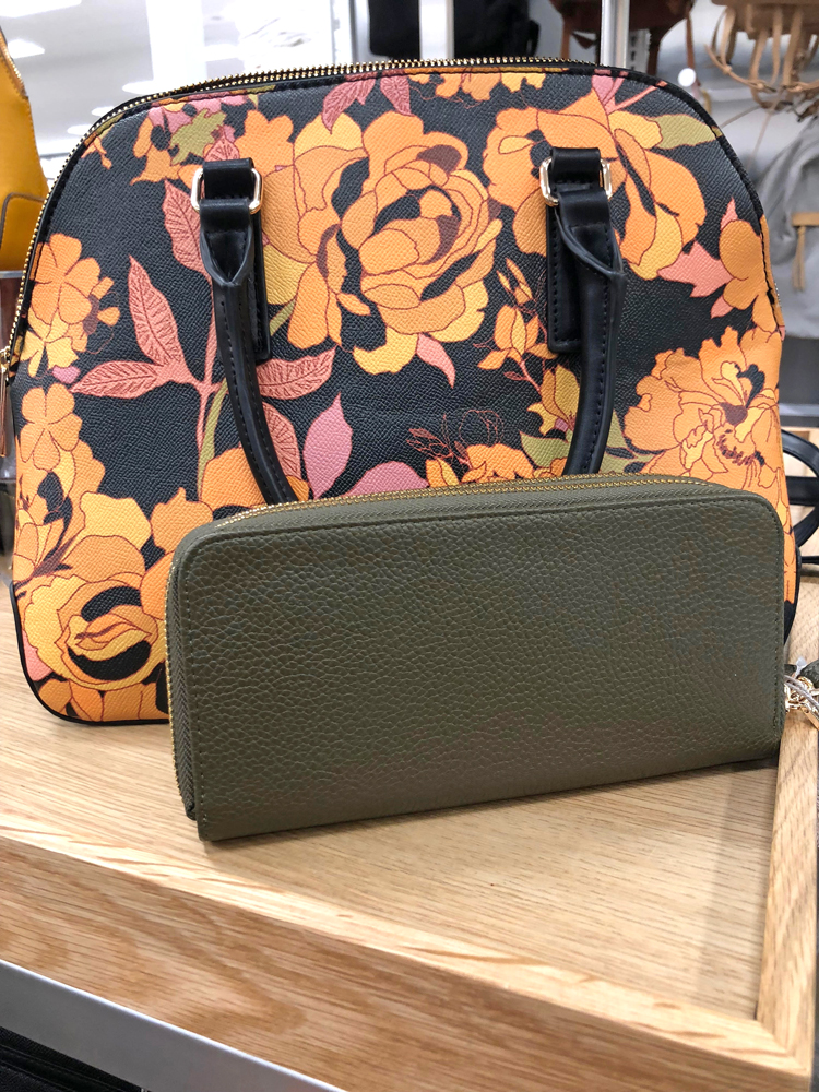 floral purse and green clutch from Target