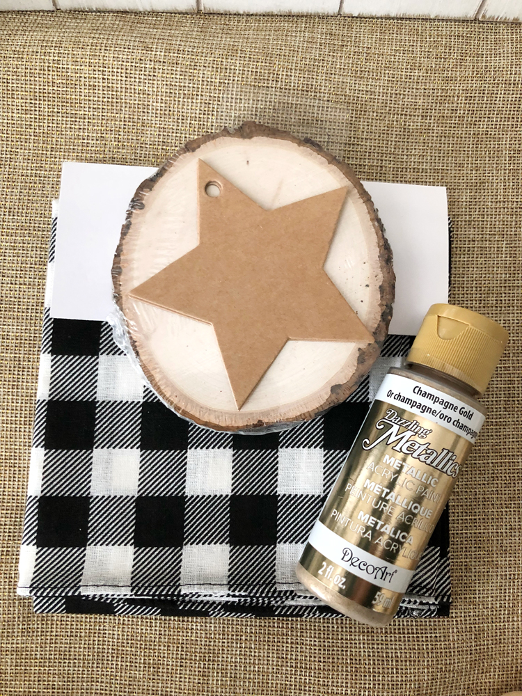 supplies for an easy but adorable wood slice ornament