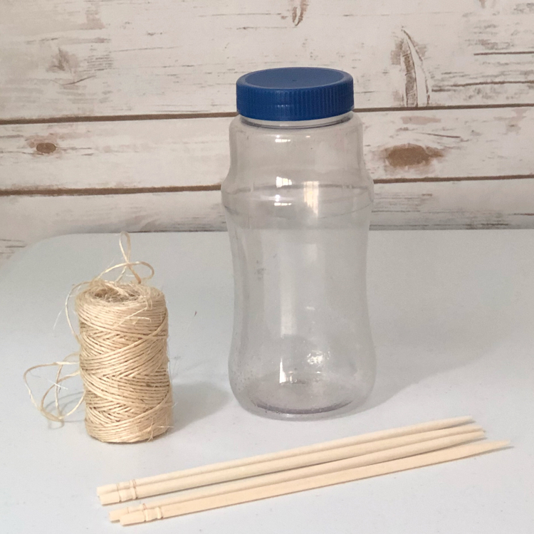 A few inexpensive supplies are all you need to make a plastic bottle bird feeder