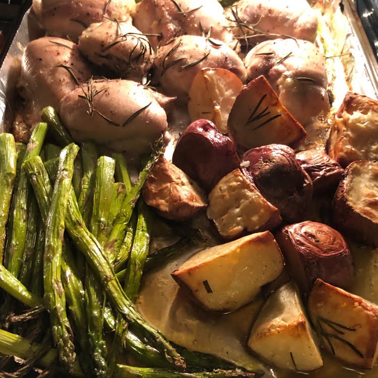 This rosemary chicken and potato sheet pan dinner with asparagus is delicious and so simple to make!