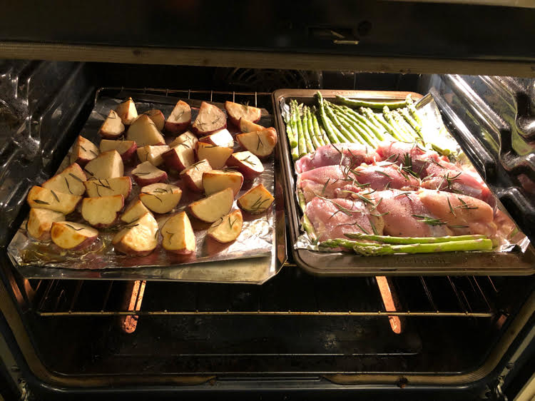 how to roast chicken, potatoes and asparagus for a delicious rosemary sheet pan dinner