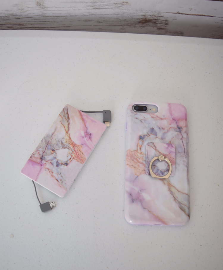 Violet Sky phone case, portable charger and phone ring