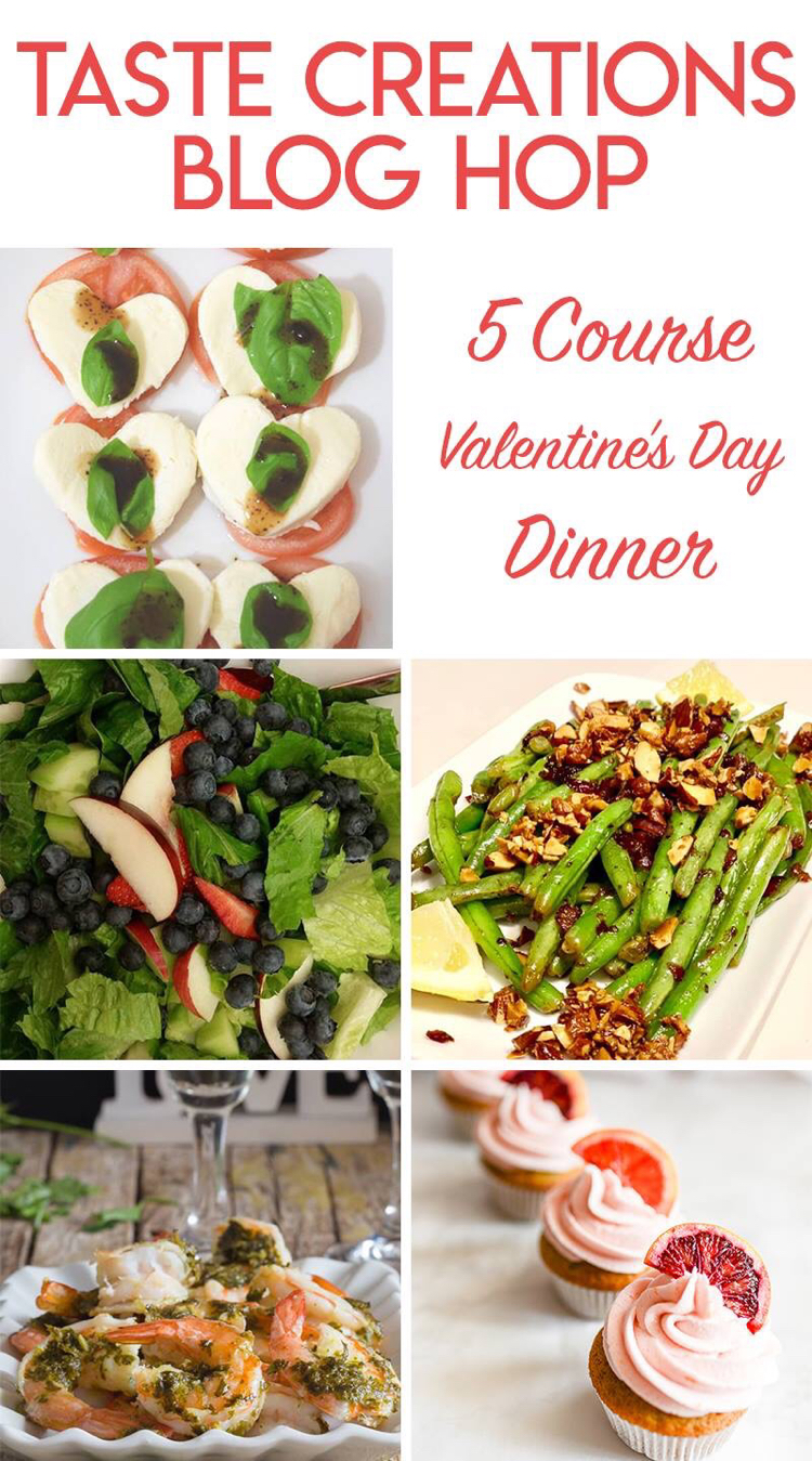 I love these ideas for a Valentine's Day meal -- from the appetizer, veggies, salad, main dish to the dessert!