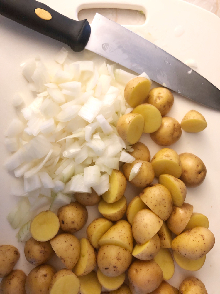 chopped potatoes and onions