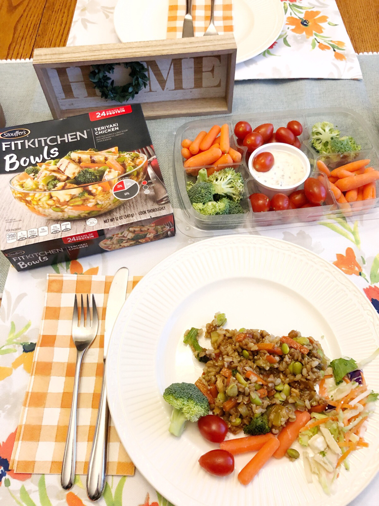 STOUFFER'S® FIT KITCHEN® Teriyaki Chicken Bowl offers 24 grams of protein, no artificial flavors and delicious white meat chicken with rice and vegetables in a savory teriyaki sauce.