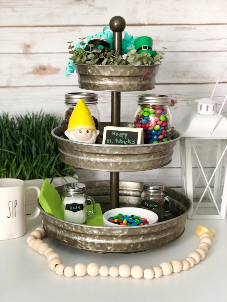 This galvanized metal tiered tray is decorated beautifully for St. Patrick's Day