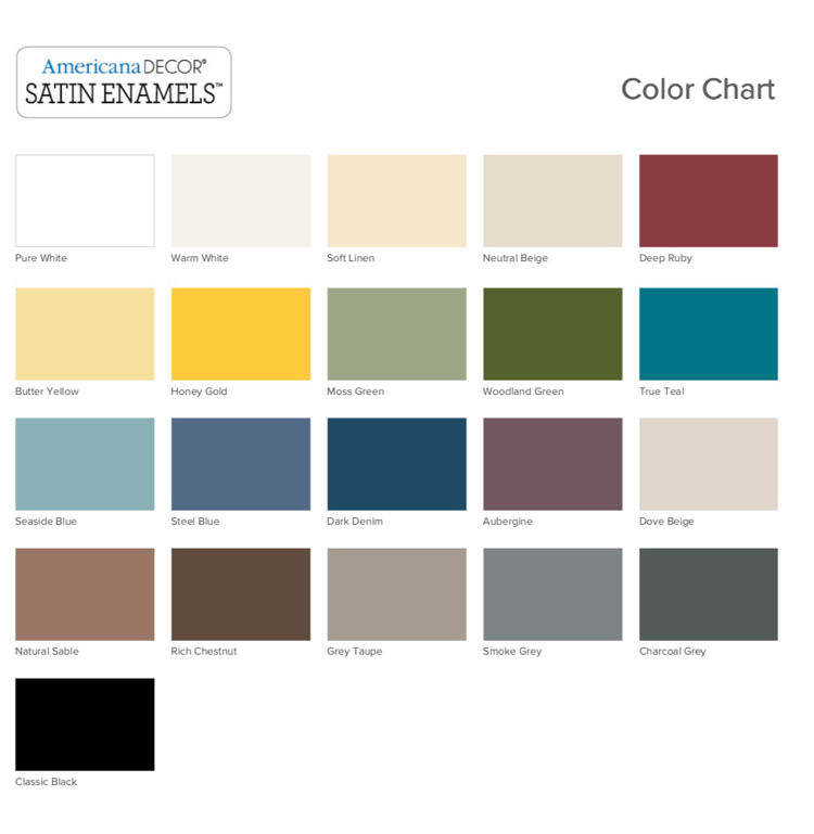Americana Decor Satin Enamels color chart - this paint is perfect for painting bathroom cabinets!