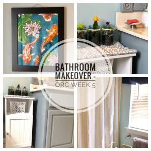 For the 5th week of the One Room Challenge, I added new decor to my daughters' bathroom -- including a painting one of my daughters painted!