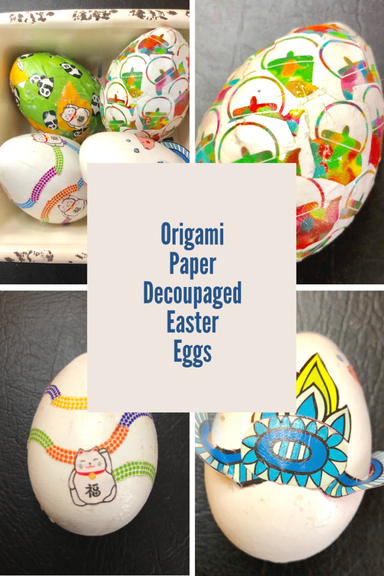 I love this idea of decoupaging craft Easter eggs with origami paper