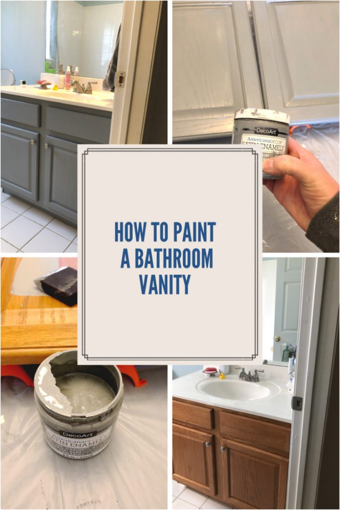 Painting a bathroom vanity with Americana Decor Satin Enamels paint is a durable and beautiful way to update a bathroom cabinet.
