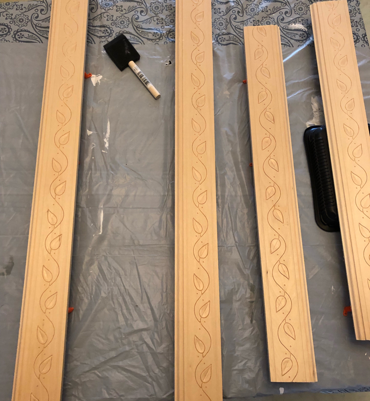 leaf embossed hardwood chair molding