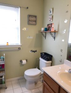 Tween bathroom in sage green