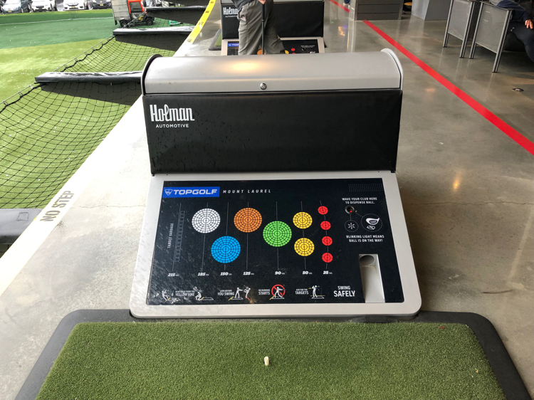Golf console at Topgolf in Mount Laurel, NJ