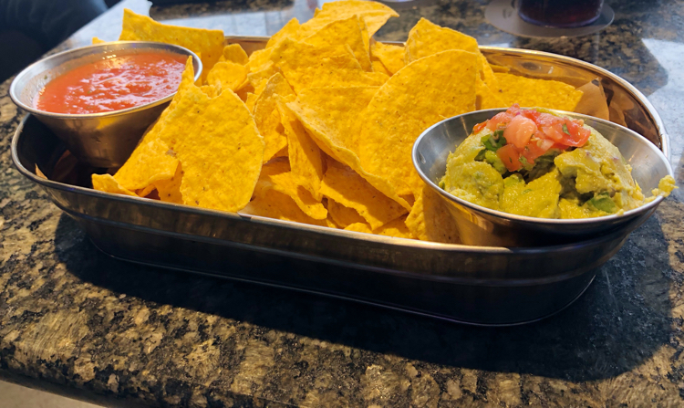 Guacamole and chips at Topgolf in Mount Laurel, NJ