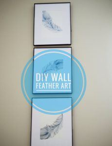 DIY framed stenciled feather art