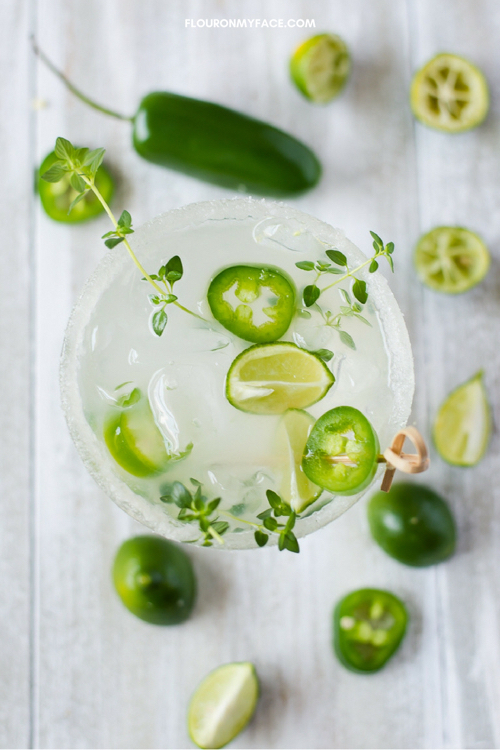 Spicy Jalapeno Thyme margarita recipe by Flour on My Face