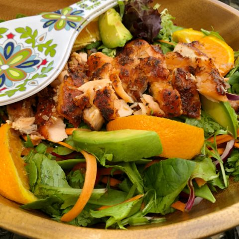 This recipe for green salad with orange ginger salmon s so good!