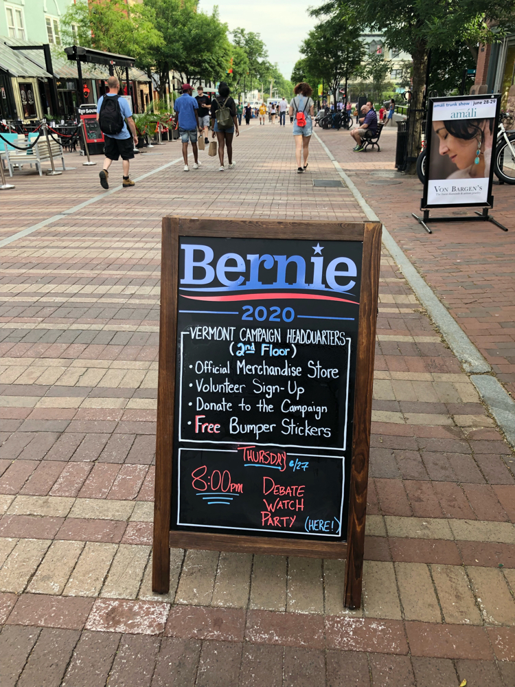 Campaign headquarters for Vermont senator and presidential candidate Bernie Sanders in Burlington