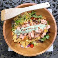 Green Salad with Salmon, Avocado & Tomato (Plus Cilantro Lime Dressing)