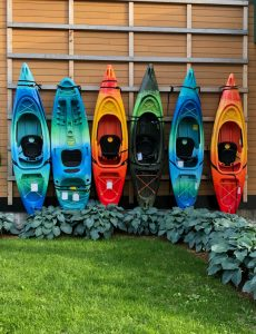 Colorful kayaks in Burlington, VT
