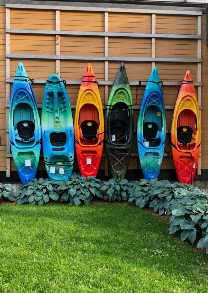 Colorful kayaks in Burlington, VT