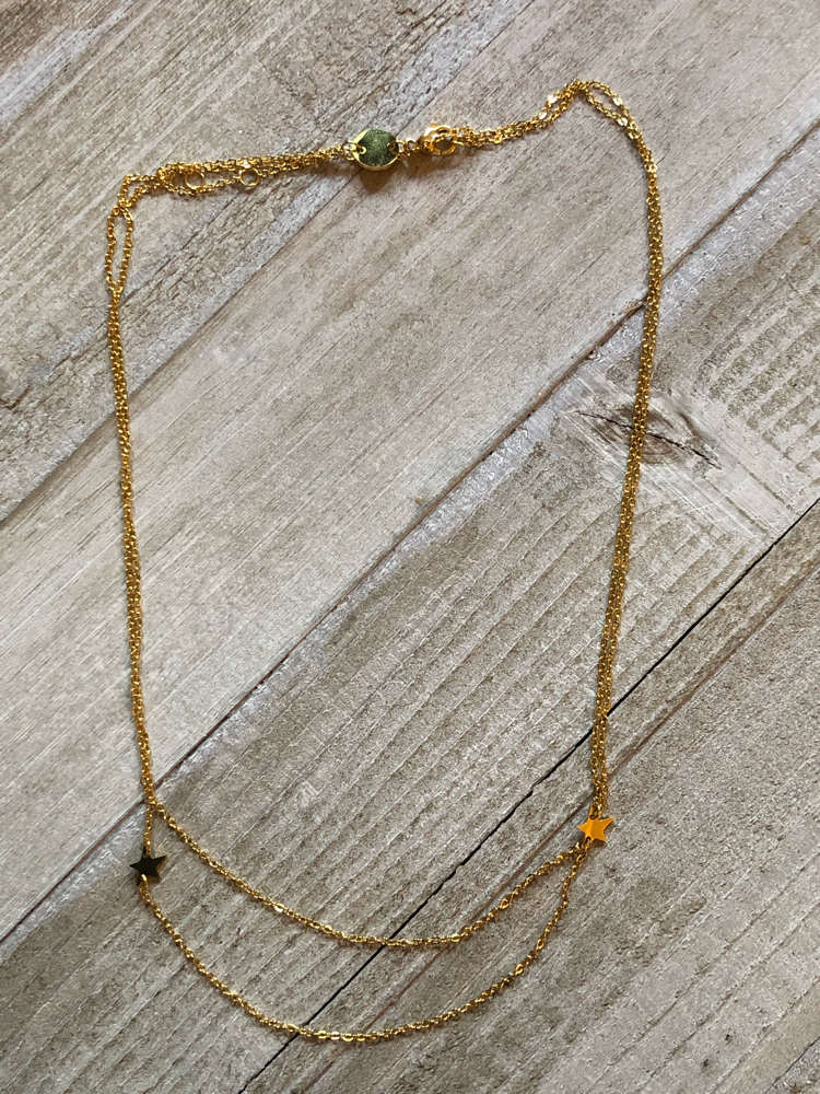 Double star choker gold necklace from the summer FabFitFun box
