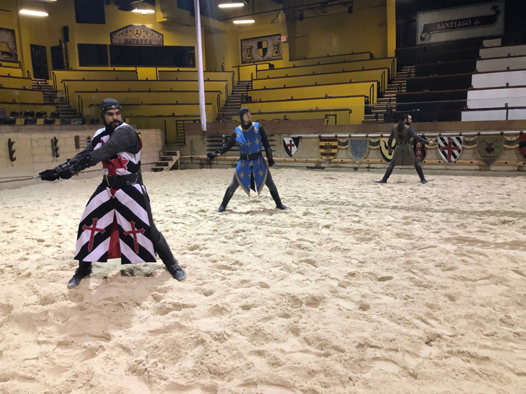 We received some knights' training during our behind the scenes Medieval Times tour.