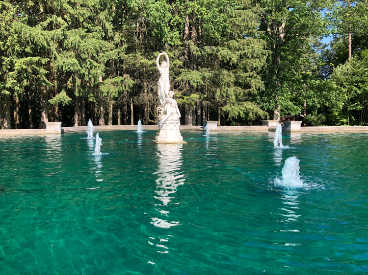 A reflecting pool at Yaddo Gardens in Saratoga Springs, NY