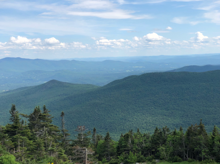 Beautiful Adirondack views from the top of Mount Mansfield in Stowe, Vermont