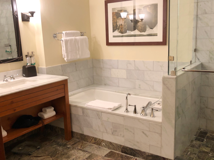 The luxury bathroom in our one-bedroom suite at The Lodge at Spruce Peak in Stowe, Vt.