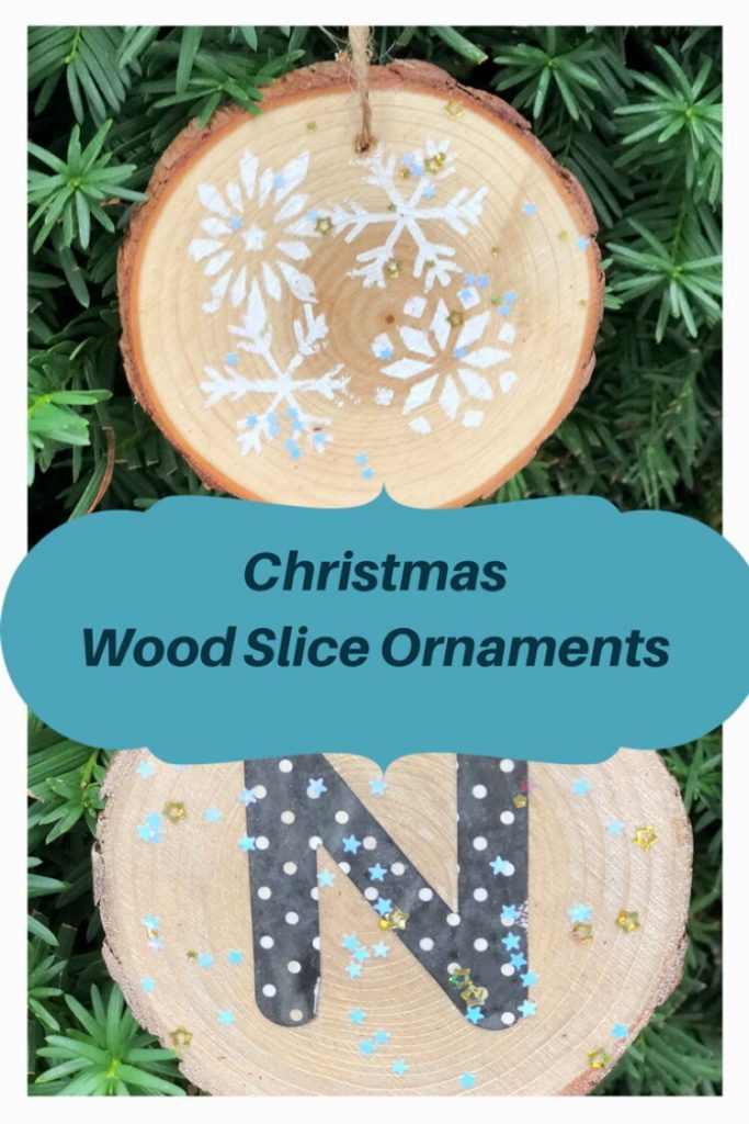 stenciled and monogrammed wood slice ornament