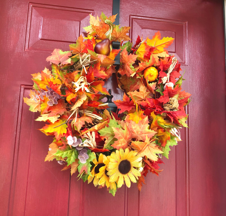 Make this easy and colorful fall wreath in less than 10 minutes!
