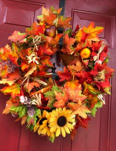 how to make an easy fall leaves wreath