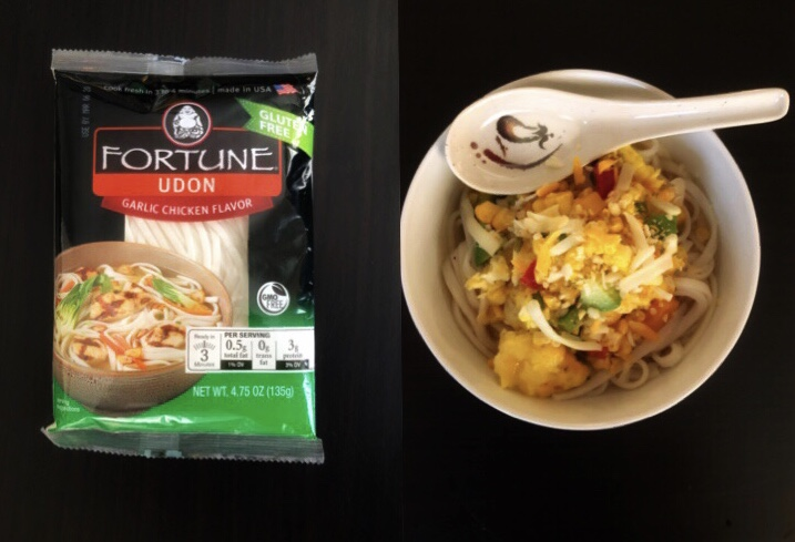 Tex-Mex breakfast udon made with Fortune brand udon