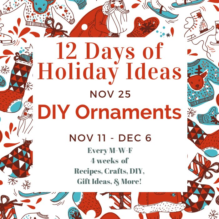 Today for the 12 Days of Holiday Ideas Blog Hop, we will be featuring lots of tutorials on how to make your own DIY ornaments this Christmas