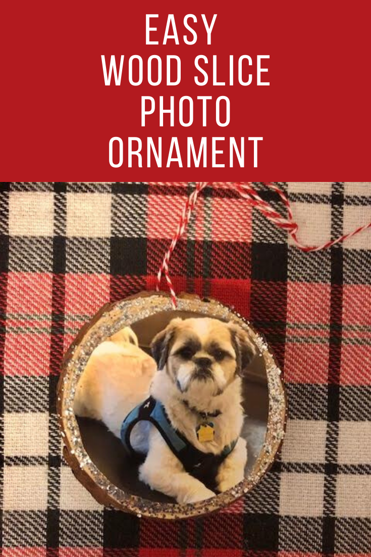 A DIY photo wood slice ornament featuring a photo of a Shih Tzu dog