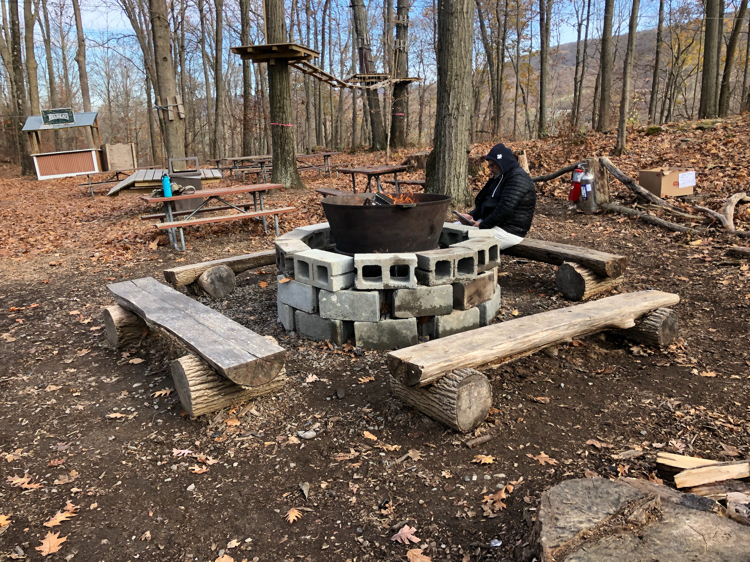 The fire pit at TreEscape Aerial Adventure Ropes Course at Mountain Creek