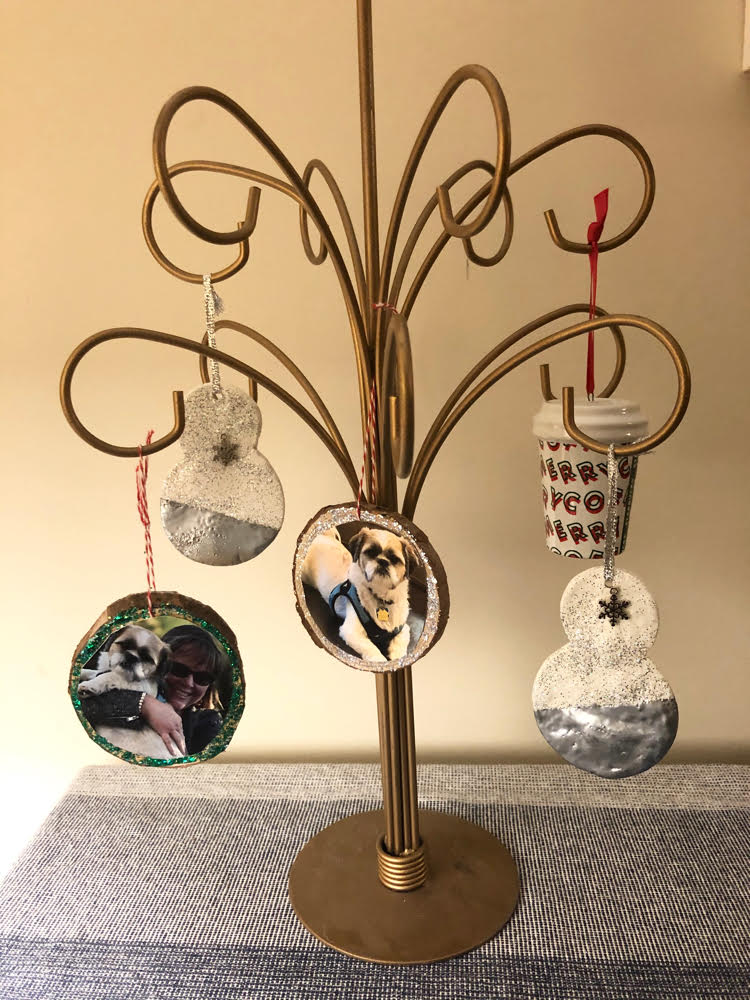 A 1950's gold ornament tree