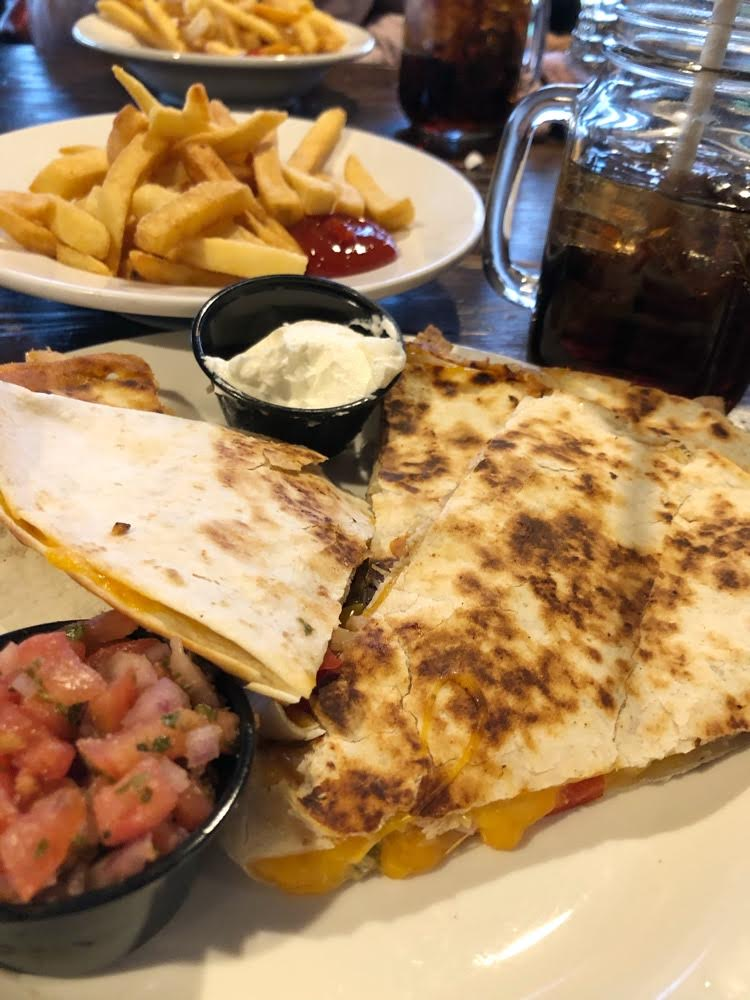 Chicken quesadilla, cola and French fries at the Great Gorge Clubhouse
