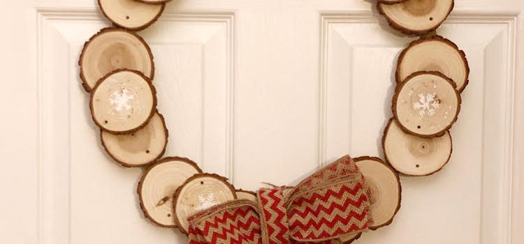 Rustic Wood Slice Wood Wreath